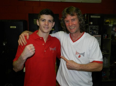"Boxing trainer Michael ""Coach Mike"" Kozlowski and 2012 Olympic Champion Luke Campbell."