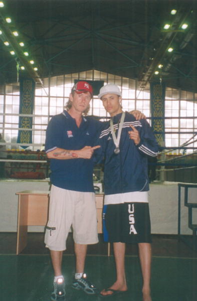 "Kazakhstan, 2006. Boxing Coach Michael ""Coach Mike"" Kozlowski and Ronney Vargas after the Final."