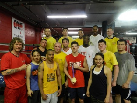 "2012 Olympic Champion Luke Campbell with Boxing trainer Michael ""Coach Mike"" Kozlowski's 'WIN or DIE' Team."