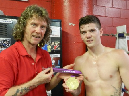 """Boxing trainer Michael """"Coach Mike"""" Kozlowski and Luke Campbell."""