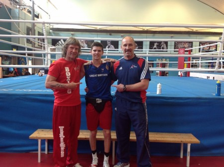 Boxing Coach Michael Kozlowski, Luke Campbell and Dave Alloway in GB Olympic Boxing Center.