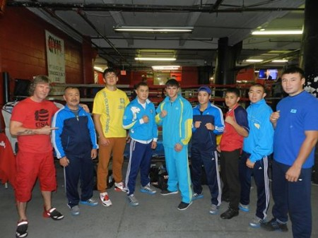 "Boxing Coach Michael ""Coach Mike"" Kozlowski and Team of honored Boxing Coach of Kazakhstan, Tursun Yedilov, after first training in America."