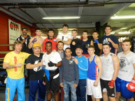 Serik Konakbayev (in the center) with Team of Kazakhstan and American boxers after first sparring.