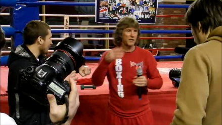 Master class of the Soviet-American boxing trainer, Michael Kozlowski, in Boxing Academy, in Moscow.