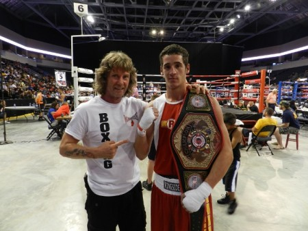 "Boxing Trainer Michael ""Coach Mike"" Kozlowski with his 2013 Ringside World Champion, Julio Alamos."