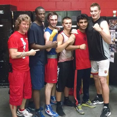 """Coach Mike's"" International Boxing team. Michael Kozlowski (trainer), Joe Nubia (USA), Tony Brown (Ireland), Nikita Miroshnichenko (Russia), Aditya Maan (India), Evo Simik (Germany)."