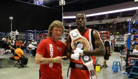Trainer Michael Kozlowski with his new Champion of Ringside tournament, Joe Nubia.