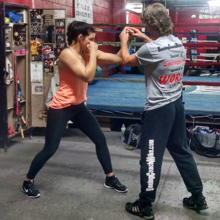 Boxing World champion, Christina Hammer, learns technics of the Russian trainer, Michael Kozlowski, in New York.