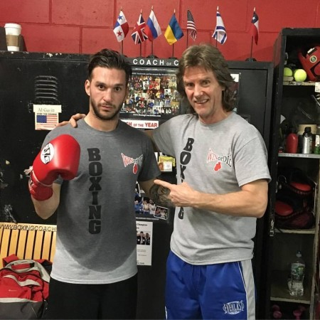 Boxing Coach Michael Kozlowski and his new prospect from Greece George Fotakopulos.