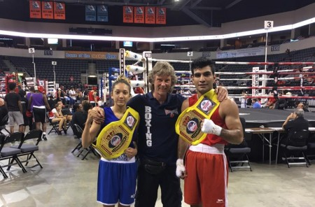 Boxing Coach Mike Kozlowski with his Olympic Prospects Michelle Cugliani and Aditya Maan.