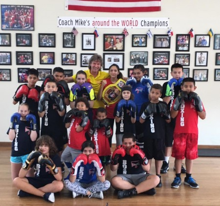 Boxing Coach Mike's with his students