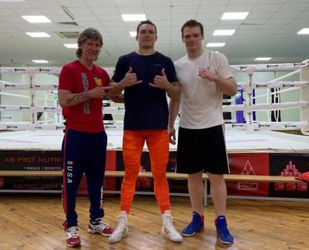 Coach Michael Kozlowski, Oleksandr Usyk , Iegor Plevako