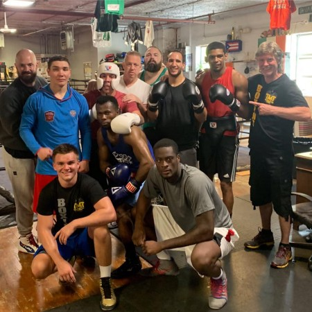 Dmitry Noskov with the Coach Mike's Team and Coach Ryan's Boxers at Champs Boxing Club.