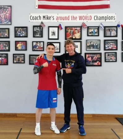 "Trainer Michael ""Coach Mike"" Kozlowski and Dmitry Noskov."