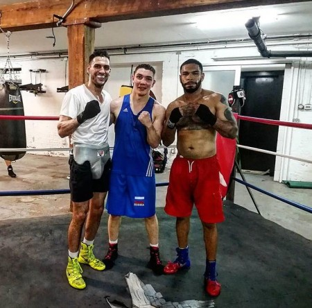 Dmitry Noskov with his first sparring partners in New York, Peter Dobson (to the left of Dmitry) and Gledwin Ortiz.