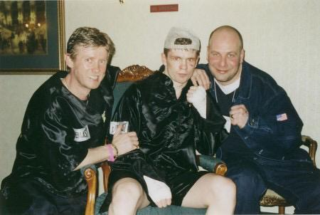 Coach Michael Kozlowski, Yuri Foreman and promoter Lou DiBella after another battle won.