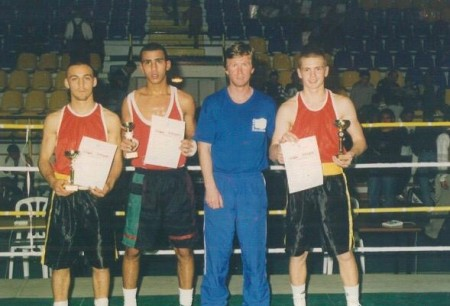 Boxing trainer Michael Kozlowski and his 1998 Israeli Champions. Yuri Foreman is standing next to the coach.