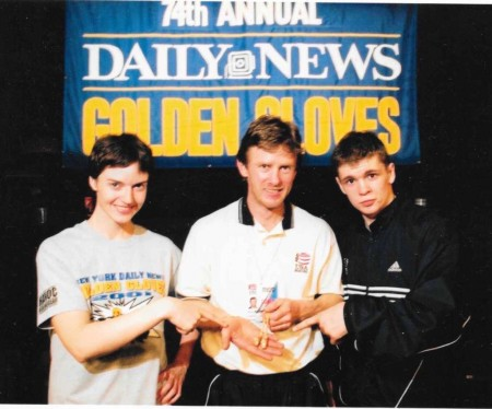 Champions of the 2001 New York Golden Gloves Tournament Jill Emery, Yuri Foreman and their trainer Michael Kozlowski.