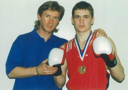 2000, Bronze Medalist of the USA National Golden Gloves Tournament Yuri Foreman and his trainer Michael Kozlowski.