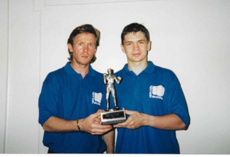 "2000. Coach Michael Kozlowski and his student, Yuri Foreman, with a trophy ""The Best Boxer"" after winning one of the most prestigious amateur tournaments in the USA ""Mayor's Cup"" in Washington DC!"