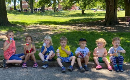 Children of Coach Mike and other parents during the Fake Pandemic next to the playground in their park, which closed on the orders of the Governor of New York!