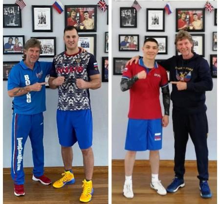 Vladimir Ivanov and Dmitry Noskov with Boxing Coach Mike Kozlowski.